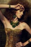 Portret van mooie vrouw met make-up en Stock Foto