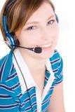 Portret van mooie vrouw met oortelefoons Royalty-vrije Stock Foto's