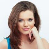 Portret van Mooie Vrouw Witte achtergrond royalty-vrije stock afbeelding