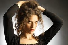 Portret van mooie vrouwen elegante brunette Stock Afbeelding