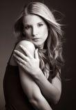 Portret van mooie vrouwenBW Royalty-vrije Stock Afbeelding