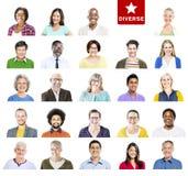Portret van Multi-etnische Kleurrijke Diverse Mensen royalty-vrije stock afbeelding