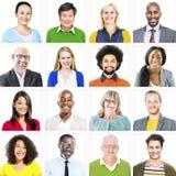 Portret van Multi-etnische Kleurrijke Diverse Mensen stock afbeelding
