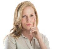Portret van Nadenkende Jonge Vrouw Stock Afbeeldingen