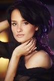 Portret van natuurlijk donkerbruin meisje Royalty-vrije Stock Foto