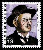 Portret van Nik Welter 1871-1951, Grote Schrijvers serie, circa 2001 Stock Foto's