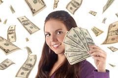 Portret van onderneemster met geld Stock Afbeeldingen