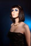 Portret van ongehoorzame vrouw in de stijl van Cleopatra Royalty-vrije Stock Foto