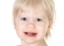 Portret van ontevreden baby Stock Foto