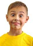 Portret van opgewekte verraste kleine jongen Stock Afbeeldingen