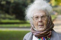 Portret van Oude dame in het park Royalty-vrije Stock Foto's