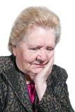 Portret van oude peinzende vrouw Royalty-vrije Stock Afbeelding