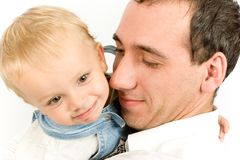 Portret van papa en zoon stock foto's