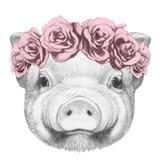 Portret van Piggy met bloemen hoofdkroon vector illustratie