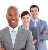 Portret van positief commercieel team Stock Foto's