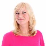 Portret van positieve blonde vrouw Stock Foto