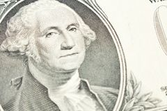 Portret van President George Washington op 1 dollarrekening sluit royalty-vrije stock foto's