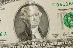 Portret van President Thomas Jefferson op een 2 dollarrekening clos stock fotografie