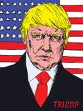 Portret van President van Amerika Donald Trump op de achtergrond van de Amerikaanse vlag Stock Foto's
