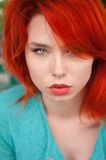 Portret van redhead vrouw stock afbeelding