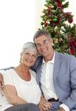 Portret van rijpe paar het vieren Kerstmis Stock Foto