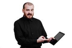 Portret van rood-gebaarde, het balding mannelijke brutaal Witte geïsoleerde B royalty-vrije stock foto's