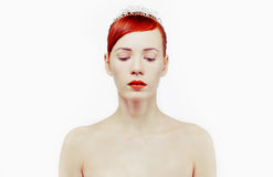 Portret van rood-haarmeisje Stock Foto