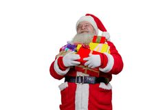 Portret van Santa Claus met Kerstmisgiften Royalty-vrije Stock Foto