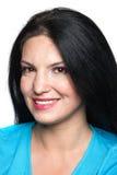 Portret van schoonheids donkerbruine vrouw Stock Foto