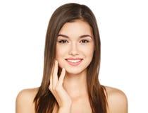 Portret van schoonheids jonge vrouw vrolijk met natuurlijke samenstelling Stock Afbeeldingen