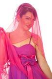 Portret van schoonheidsbruid in roze Stock Foto's
