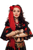 Portret van sensuele zigeunervrouw. Geïsoleerde Royalty-vrije Stock Afbeeldingen