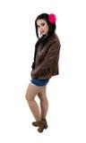 Portret van sexy meisje gekleed in bruin Stock Fotografie