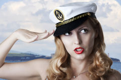 Portret van sexy speld omhoog modelbegroetingen Stock Afbeelding