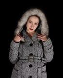 Portret van sexy vrouw in grijze laag stock foto's
