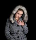 Portret van sexy vrouw in grijze laag royalty-vrije stock foto's