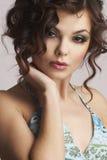 Portret van vrouw met mooie samenstelling Royalty-vrije Stock Foto