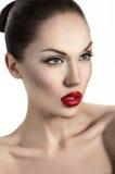 Portret van sexy vrouw met rode lippen Stock Foto's