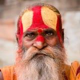Portret van Shaiva-sadhu, heilige mens in Pashupatinath-Tempel, Katmandu nepal Royalty-vrije Stock Fotografie