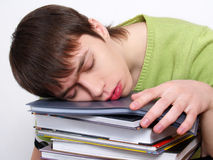 Portret van slaperige student Royalty-vrije Stock Foto