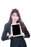 Portret van slimme de tabletcomputer van de bedrijfsvrouwenholding Royalty-vrije Stock Afbeelding