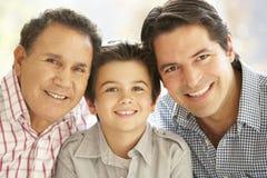 Portret van Spaanse Grootvader, Volwassen Vader And Son Relaxing thuis stock afbeelding