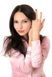 Portret van speelse jonge vrouw Stock Fotografie