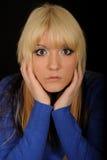 Portret van starende vrouw Royalty-vrije Stock Foto's