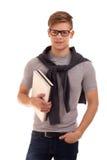 Portret van student met boeken Stock Afbeeldingen
