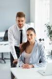 Portret van Succesvolle Bedrijfsmensen op het hun Werk Busin Royalty-vrije Stock Foto's