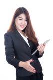 Portret van succesvolle glimlach bedrijfsvrouwen die een hand geven royalty-vrije stock afbeelding