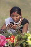 Portret van Tharu-vrouw, Nepal Stock Fotografie