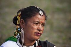 Portret van Tharu-vrouw, Nepal Royalty-vrije Stock Foto