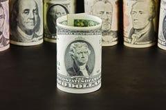 Portret van Thomas Jefferson op twee dollarbankbiljet Royalty-vrije Stock Afbeelding